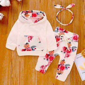 Baby Floral Print Hoodie Pants Headband 3 PC Set